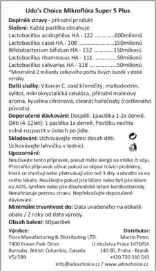 Udo's Choice Mikroflóra Super 5 Plus,60kapslí