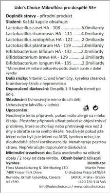 Udo's Choice Mikroflóra pro dospělé 55+,60kapslí
