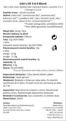 Udo's Oil 3-6-9 Blend,250ml